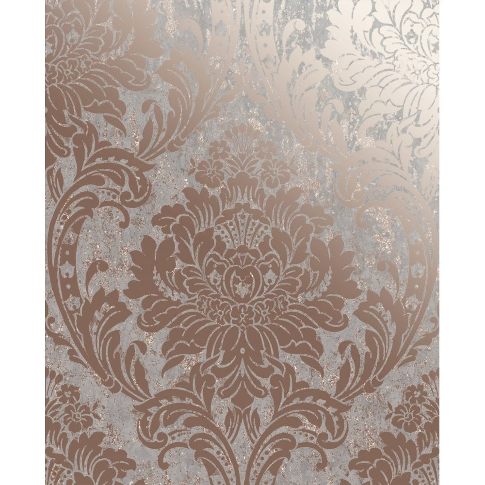 Graham Brown Milan Rose Gold Damask Wallpaper 106519