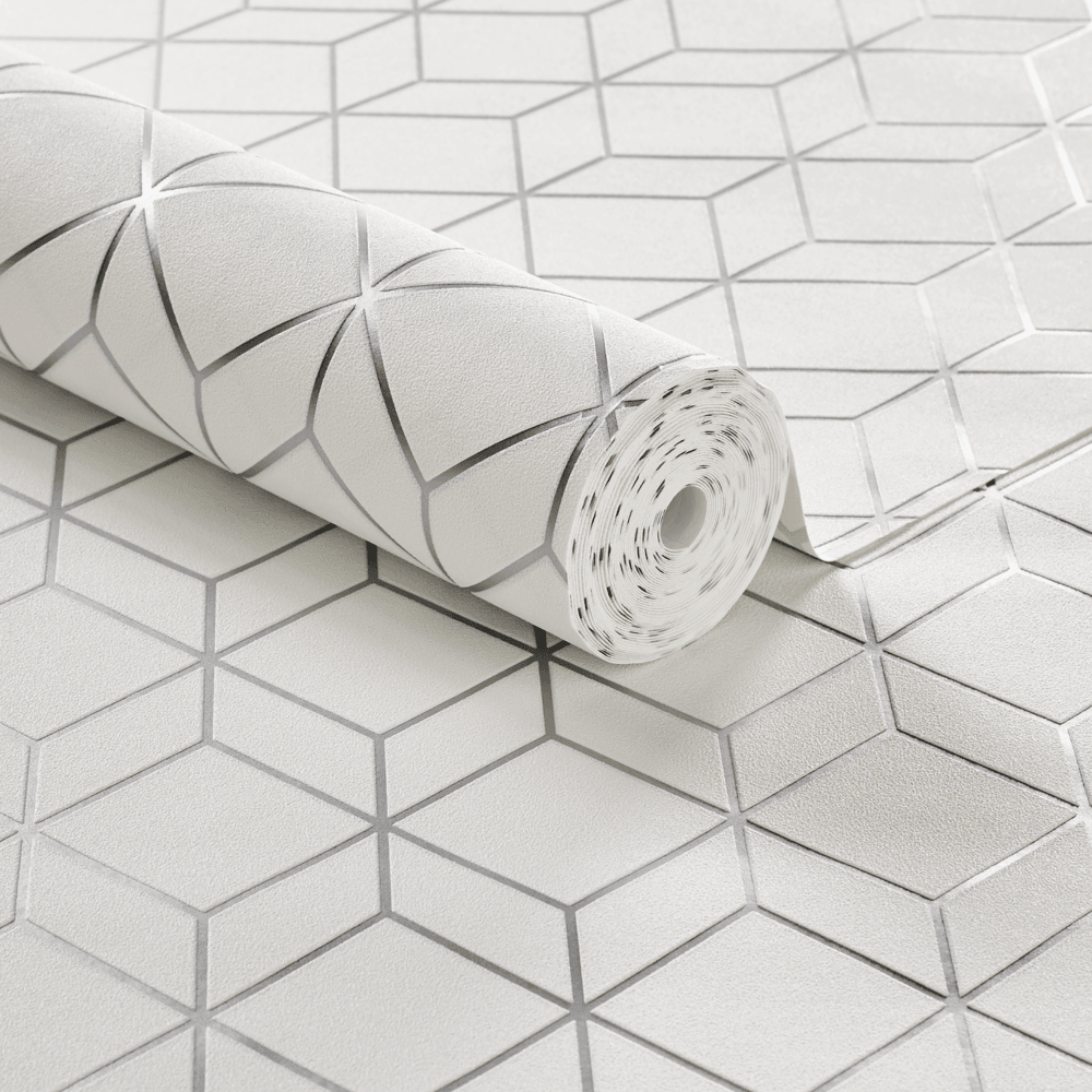Graham & Brown Myrtle Geometric White And Silver Cube