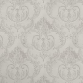 Perla Italian Glitter White And Silver Damask Wallpaper 9092