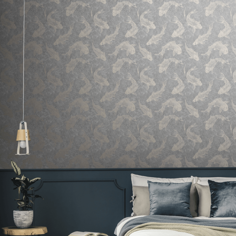 Pisces Fish Slate Grey Rose Gold Wallpaper 106626