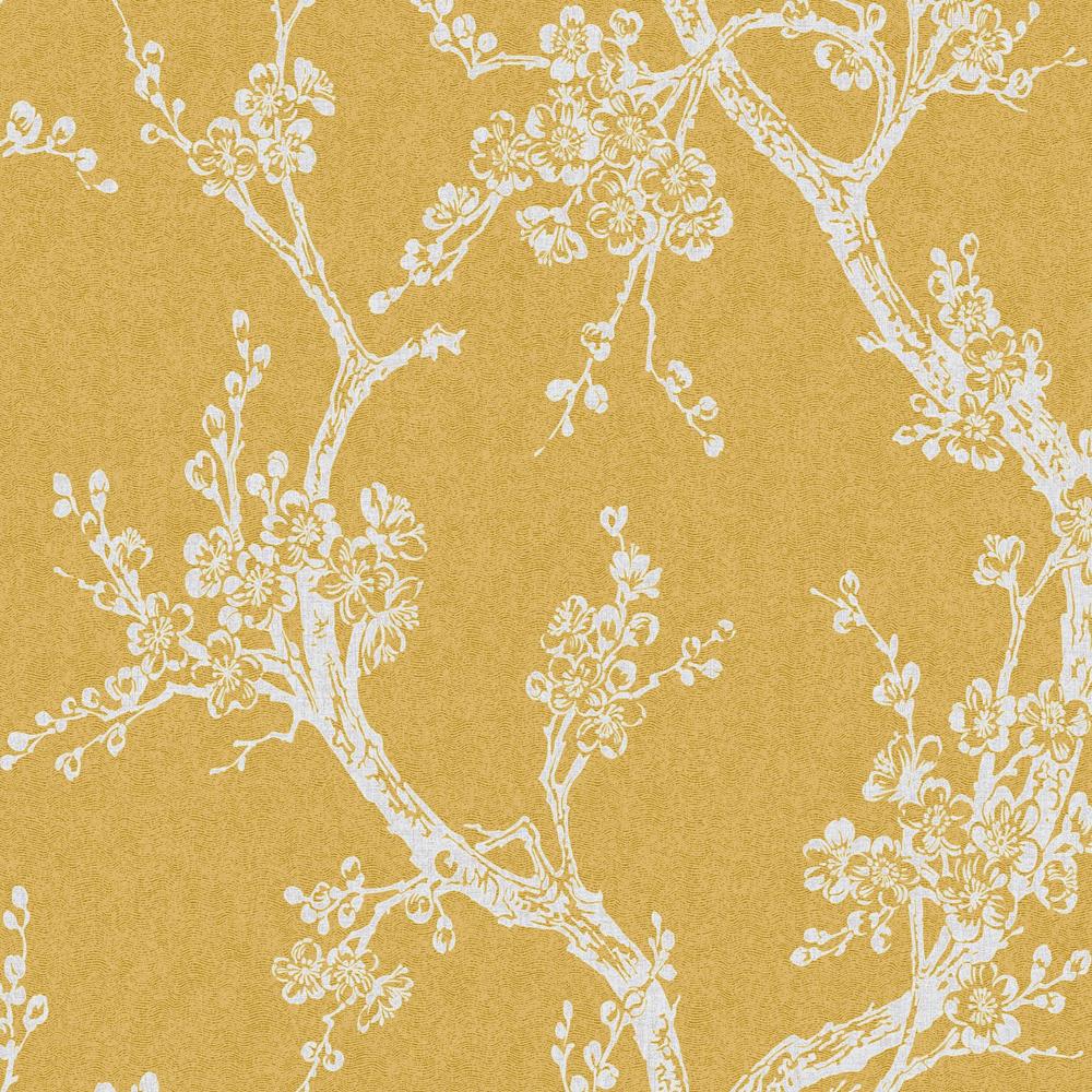 Graham Brown Plum Blossom Yellow Floral Wallpaper 107499