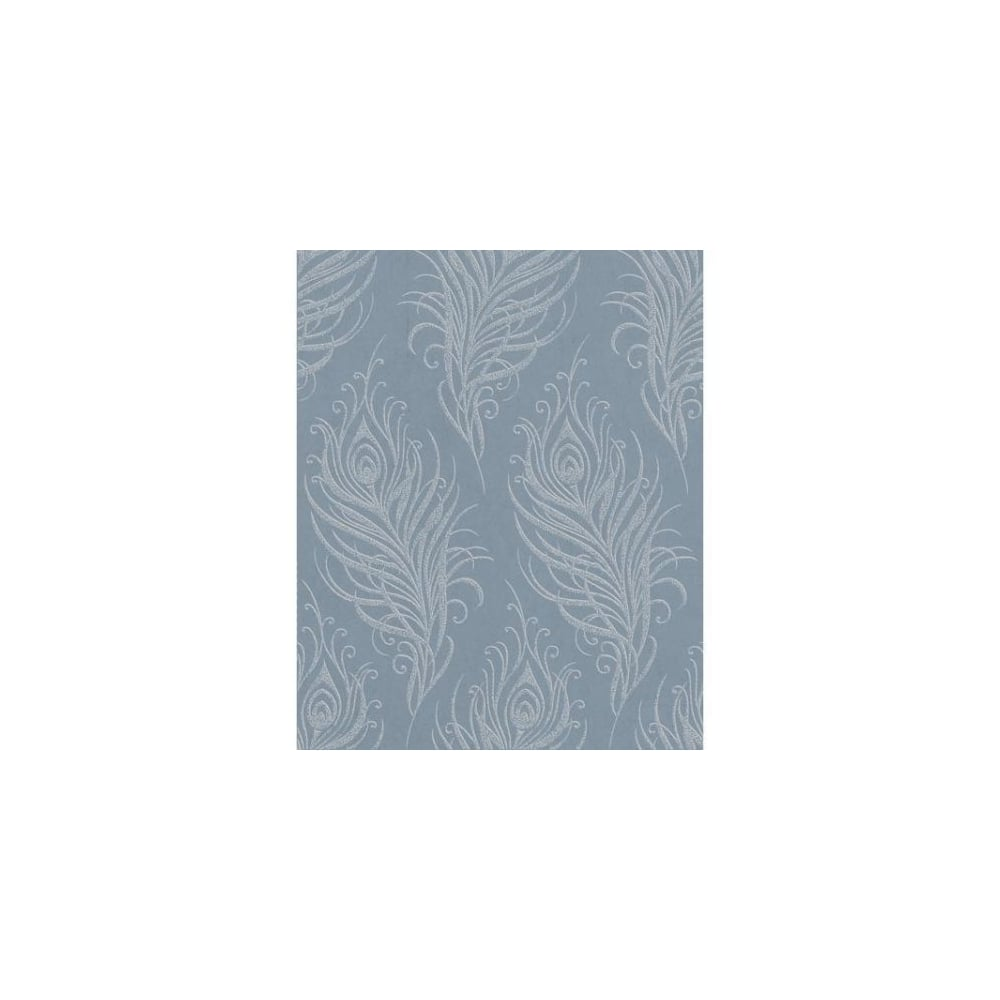 Quill Swaying Leaf Metallic Mineral Blue Wallpaper 33 321