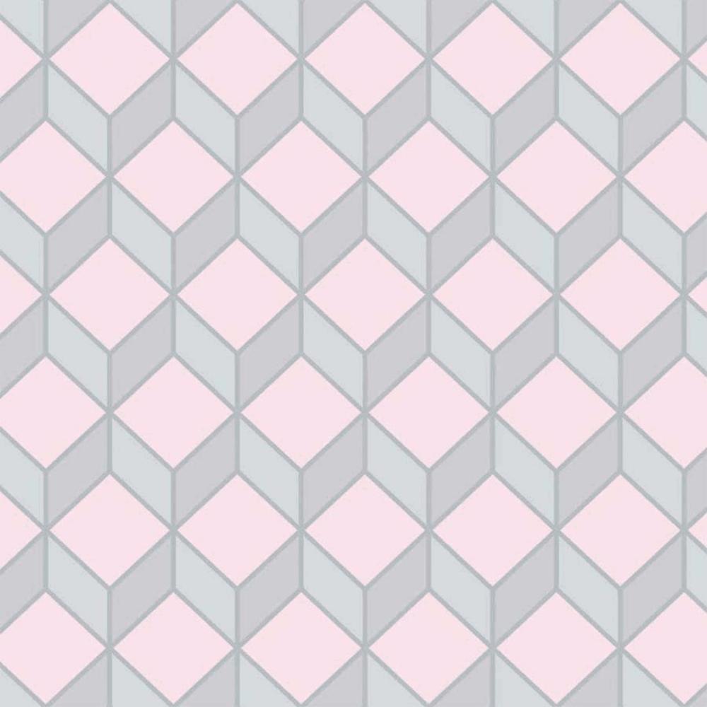 19e29be0b50d8 GRAHAM & BROWN Scandi 3D Effect Cube Grey & Pink Wallpaper 104828