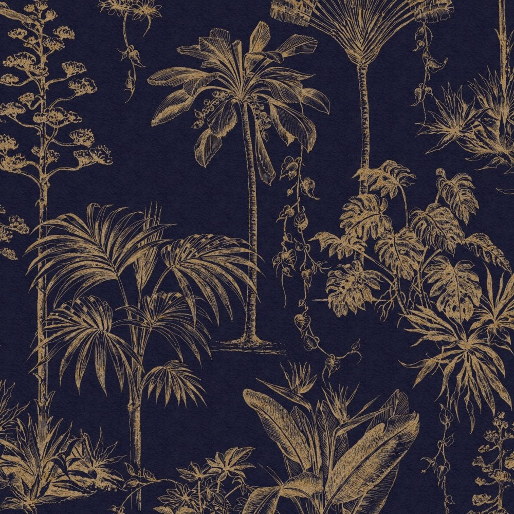 Graham Brown Sublime Blue Bronze Palm Tree Fibrous Wallpaper