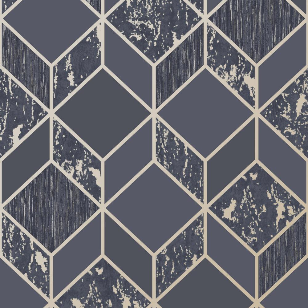 Graham & Brown Vittorio Navy Blue & Pale Gold Geometric