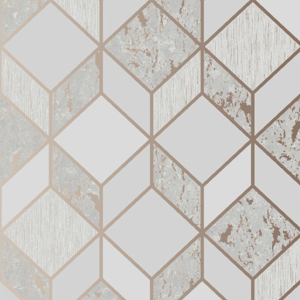 Vittorio Rose Gold Grey Geometric Textured Wallpaper 107962