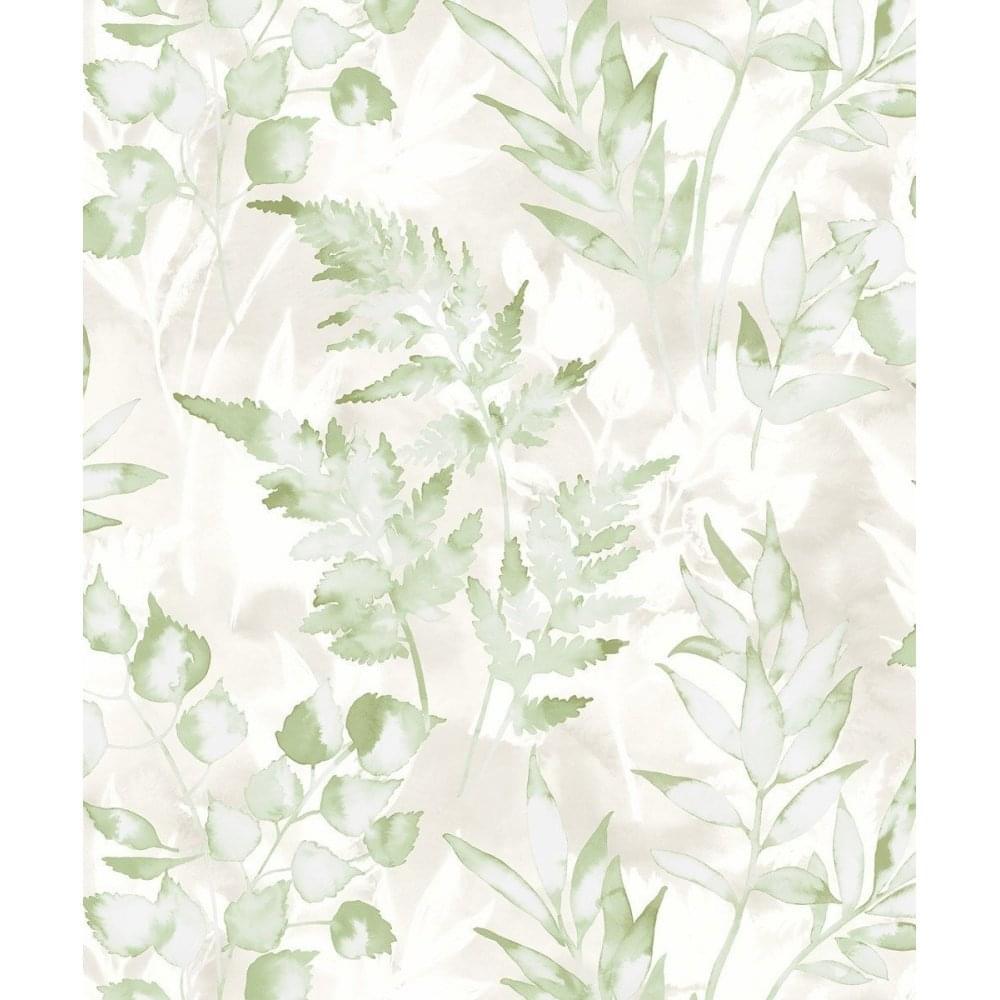 Holden Decor Glasshouse Water Colour Style Bracken Green Silver Leaf Wallpaper 90131