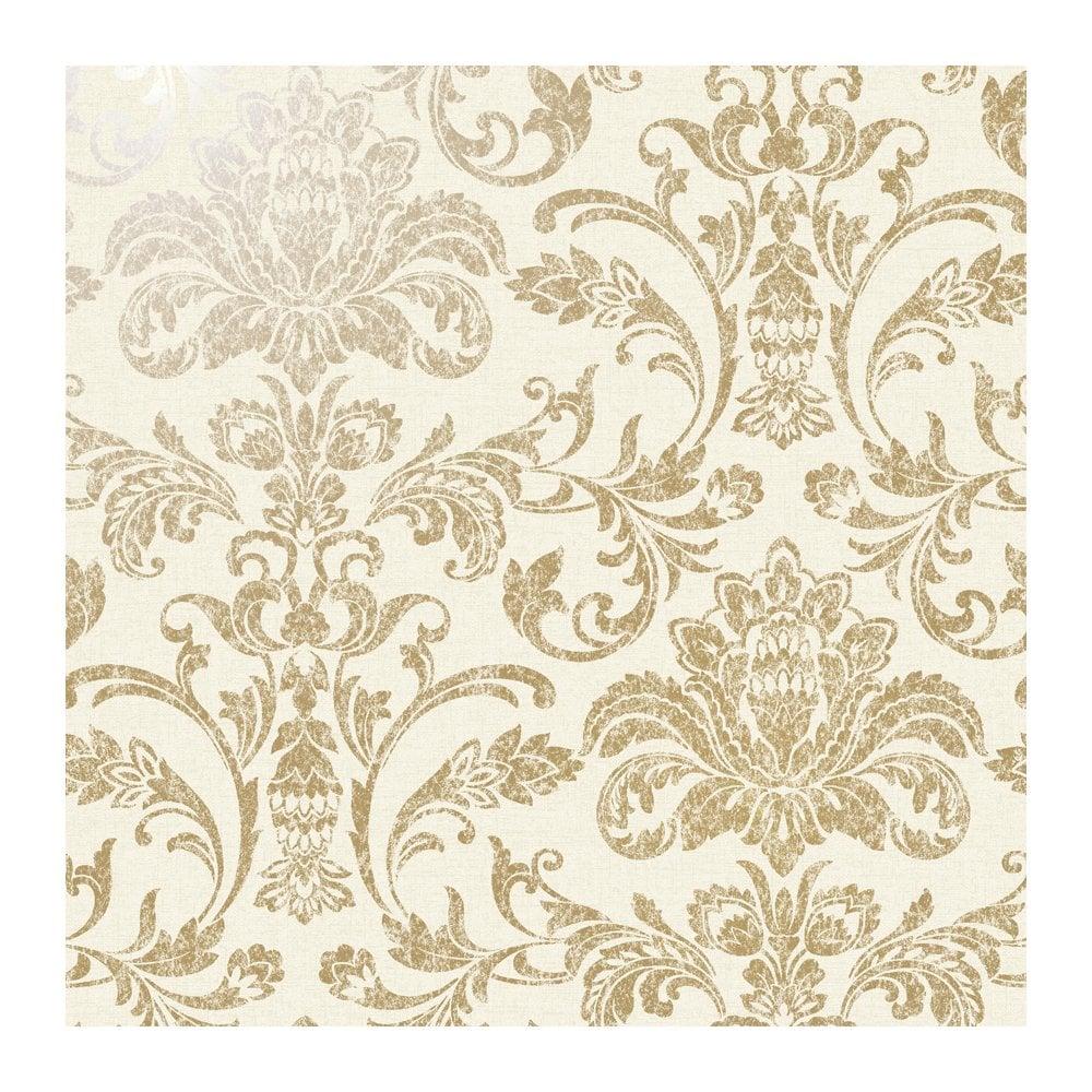 Holden Decor Glistening Damask Gold Cream Damask Wallpaper 12711