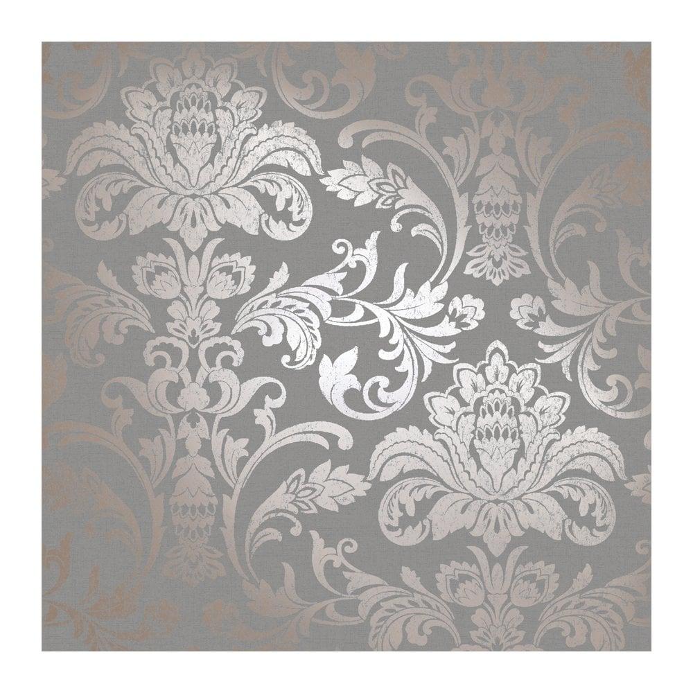 holden glistening damask rose gold grey damask wallpaper. Black Bedroom Furniture Sets. Home Design Ideas