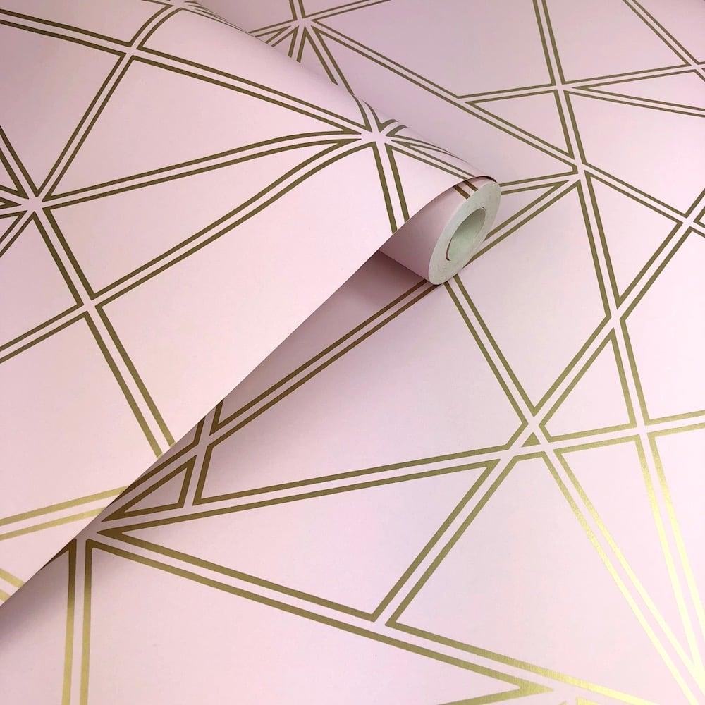 Paladium Geometric Dusky Pink Statement Wallpaper 90115