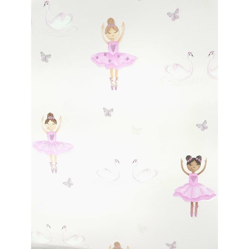 Holden Decor Pink Glitter Ballerina Girls Wallpaper 12460