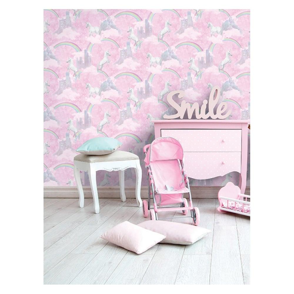 Holden Decor Pink Glitter Unicorns Girls Wallpaper 12480