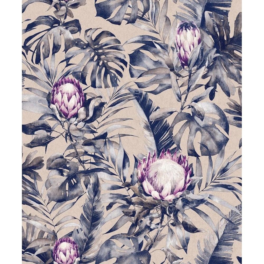 Protea Tropical Palm Rose Gold Purple Floral Wallpaper 90063