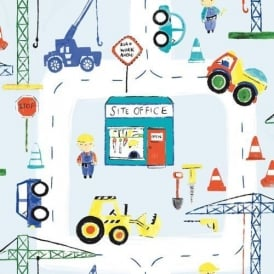 Road Works Construction Boys Blue Wallpaper 11051