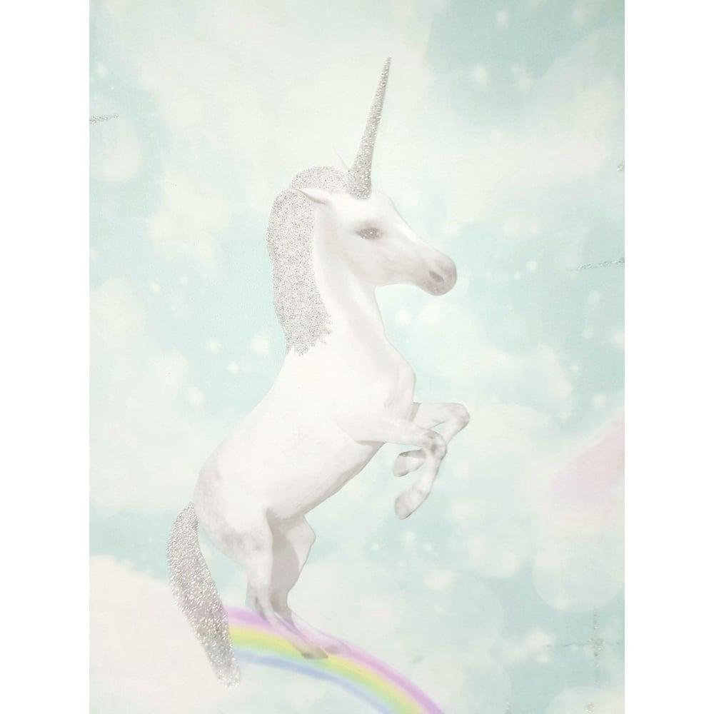 Holden Soft Teal Glitter Unicorns Girls Wallpaper 12481