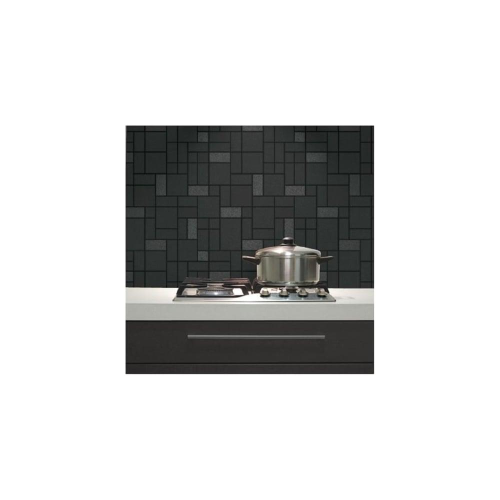 Holden Winchester Black Glitter Tile Kitchen And Bathroom Wallpaper