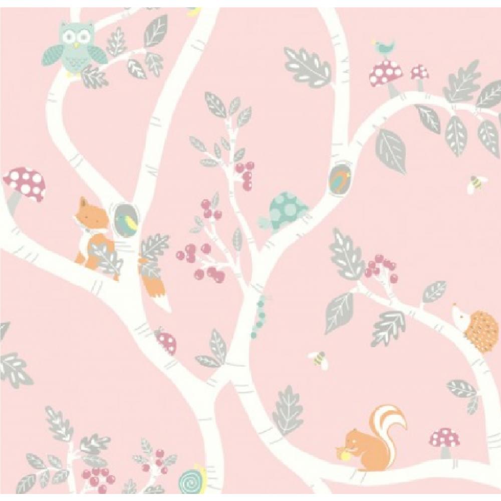 Holden Decor Woodland Animals Adventure Duksy Pink Girls Wallpaper 12492