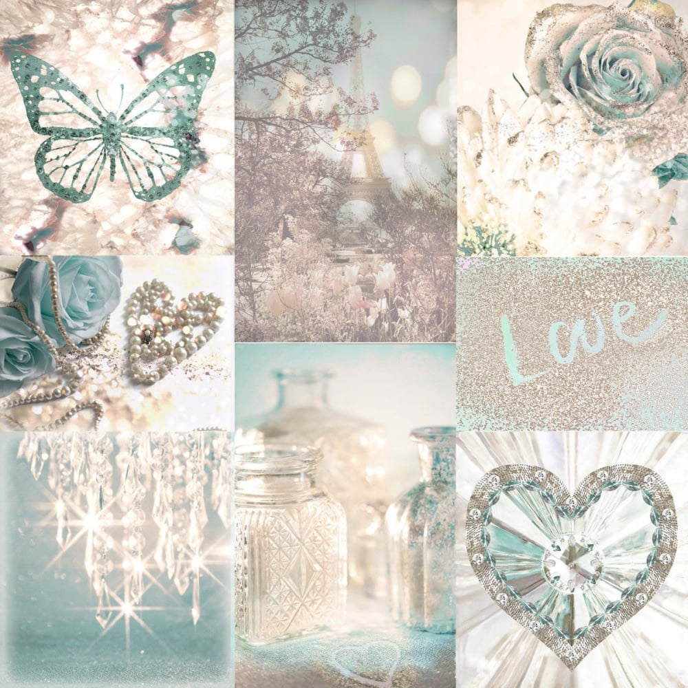 Love Paris Teal And Cream Chic Montage Glitter Glam