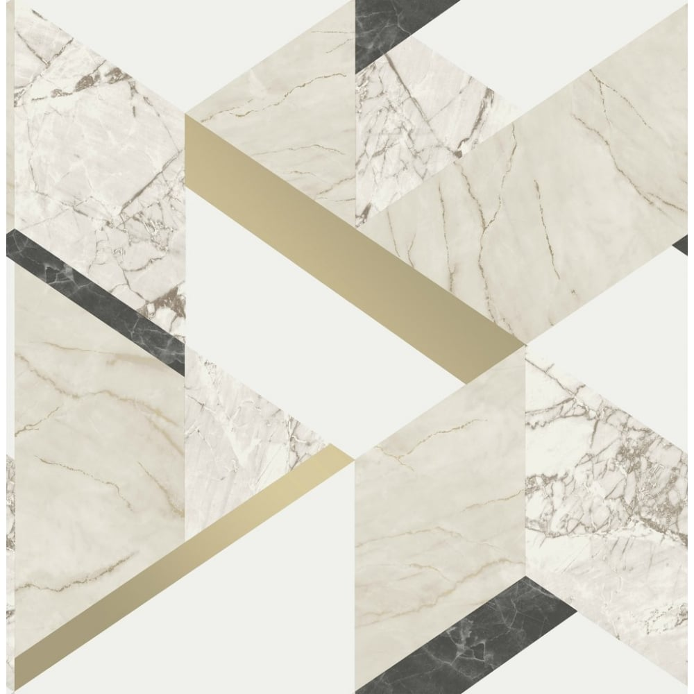 Fine Decor Marblesque Black White And Gold Metallic Geometric