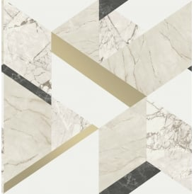 Marblesque Black White And Gold Metallic Geometric Wallpaper FD42300