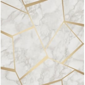 Marblesque Fractal White And Gold Metallic Geometric Wallpaper FD42265