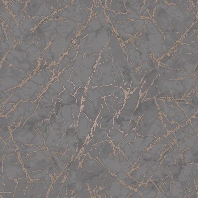 Fine Decor Marblesque Grey And Rose Gold Metallic