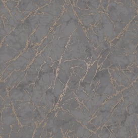 Marblesque Grey And Rose Gold Metallic Geometric Wallpaper FD42267