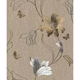 Amelia Gold And Silver Floral Metallic Wallpaper 701413