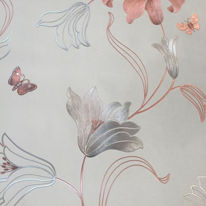 MURIVA Amelia Stone And Rose Gold Floral Metallic Wallpaper 701410