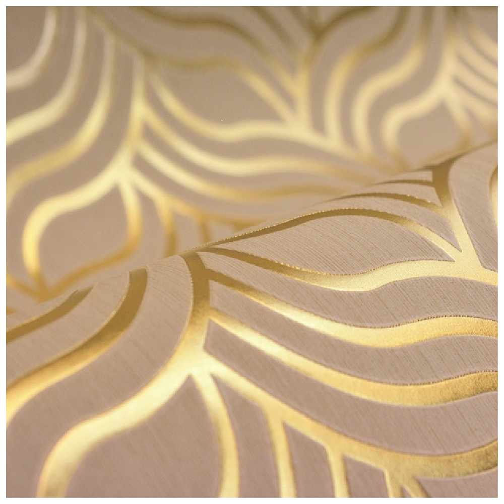 Muriva Art Deco Foil Gold And Beige Geometric Wallpaper 601534