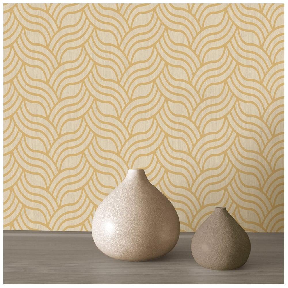 MURIVA Art Deco Foil Gold And Beige Geometric Wallpaper 601534 ...