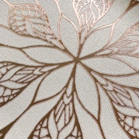 Muriva Couture Floral Eve Cream And Rose Gold Metallic Floral Wallpaper 701470