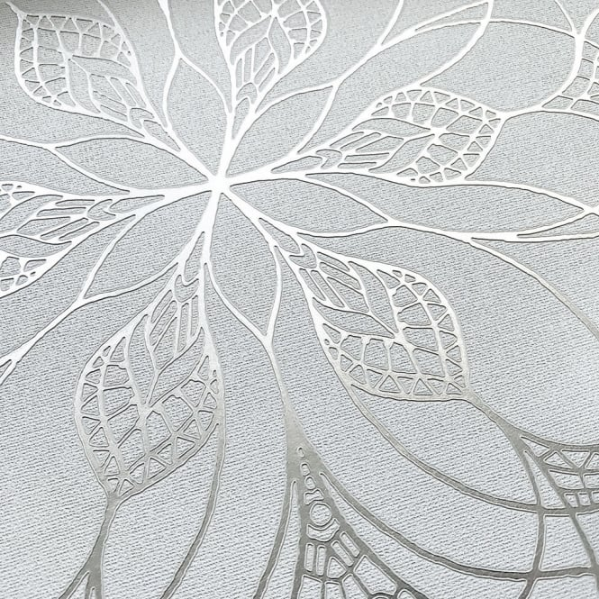 Muriva Couture Floral Eve Grey And Silver Metallic Foil