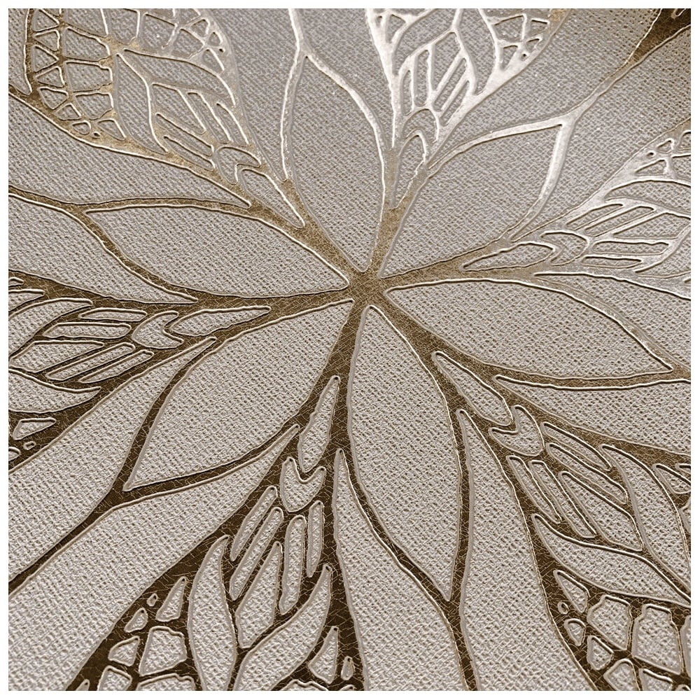 Couture Floral Eve Stone And Gold Metallic Foil Wallpaper 701472