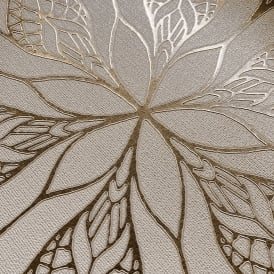 Muriva Couture Floral Eve Stone And Gold Metallic Foil Wallpaper 701472