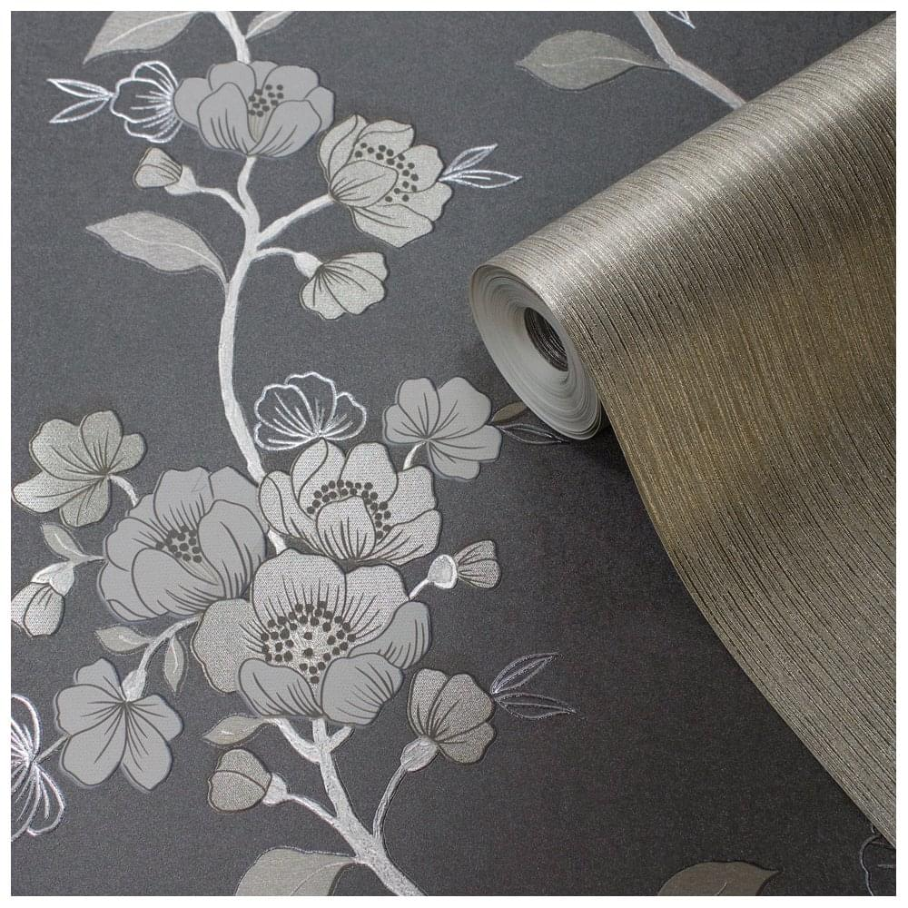 Delta Black Amp Gold Metallic Luxury Floral Wallpaper 701622