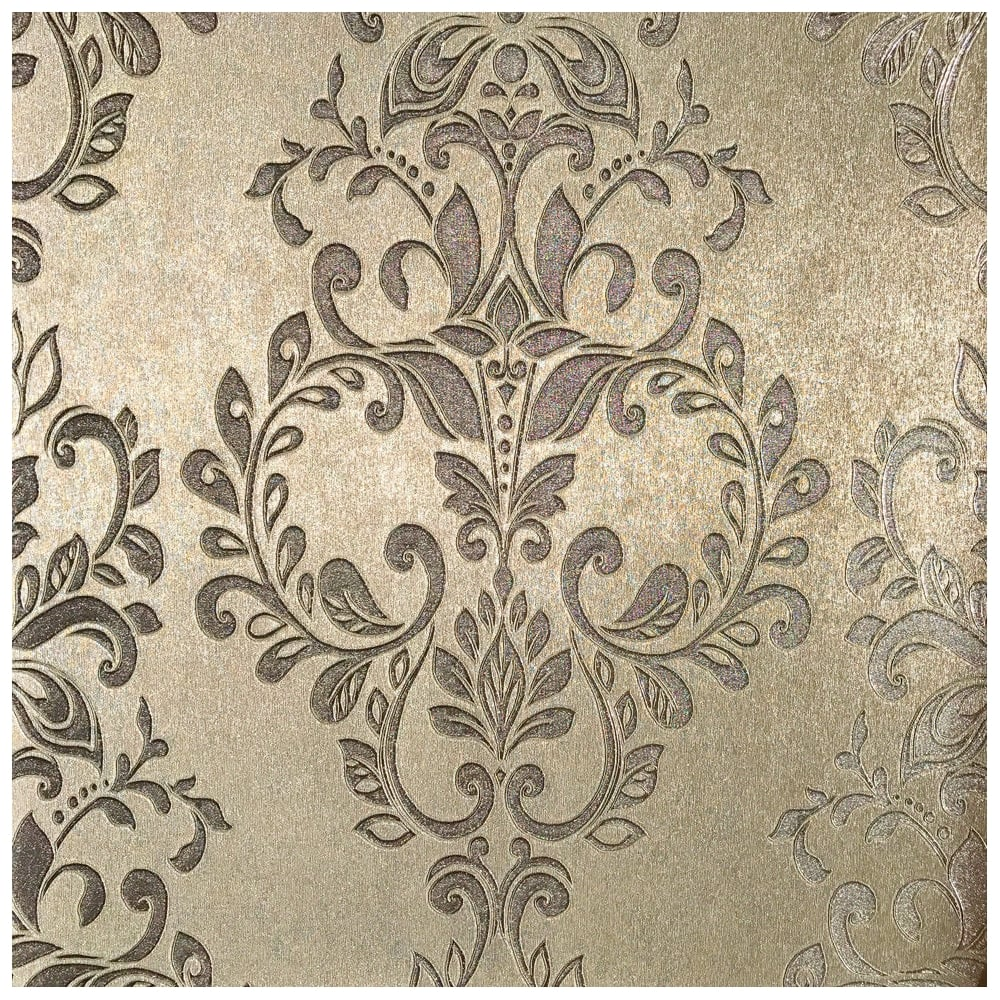 Serena Metallic Shimmer Gold Damask Wallpaper 701451