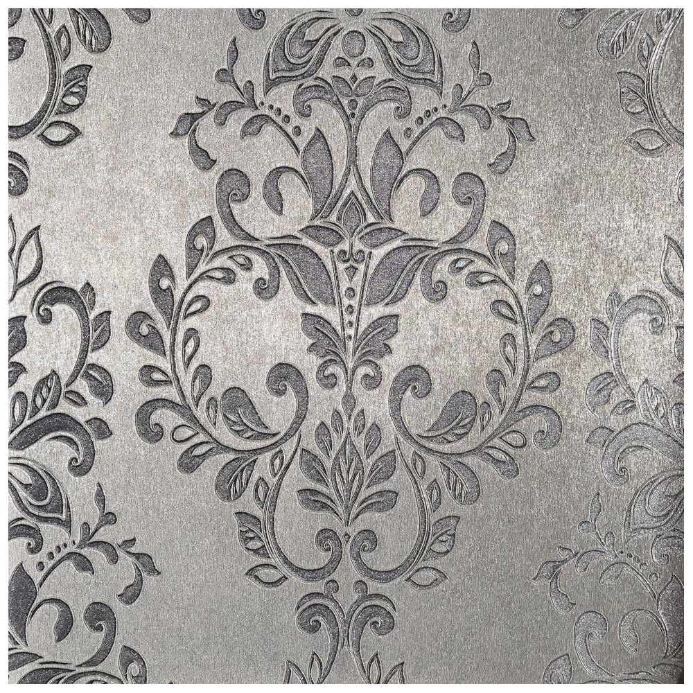 Serena Shimmer Metallic Silver Damask Wallpaper 701452