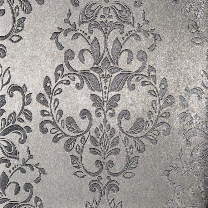 Muriva Serena Shimmer Metallic Silver Damask Wallpaper