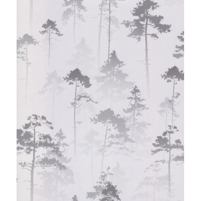 Muriva Sherwood Metallic Silver Forest Tree Wallpaper