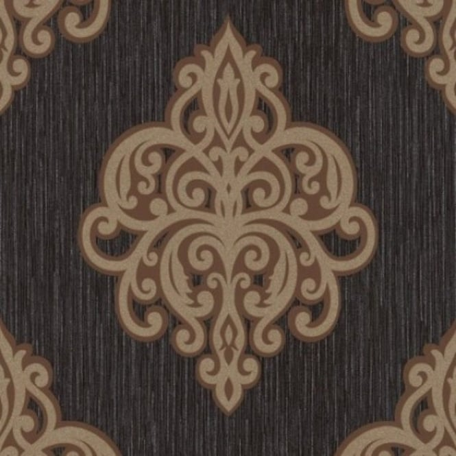 Opal Black And Gold Damask Glitter Wallpaper 02491-70