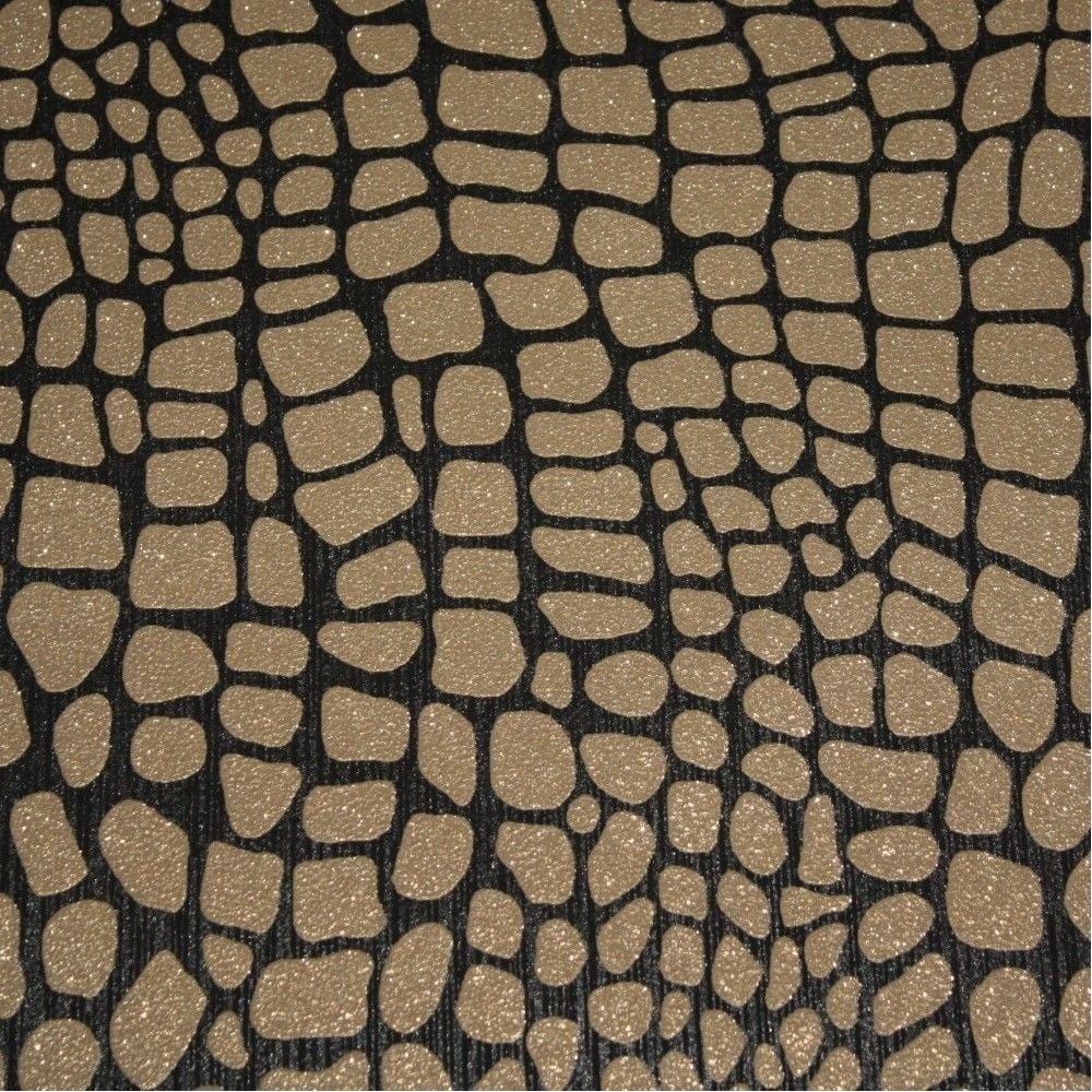 Opal Black Gold Crocodile Skin Glitter Wallpaper 02494 40