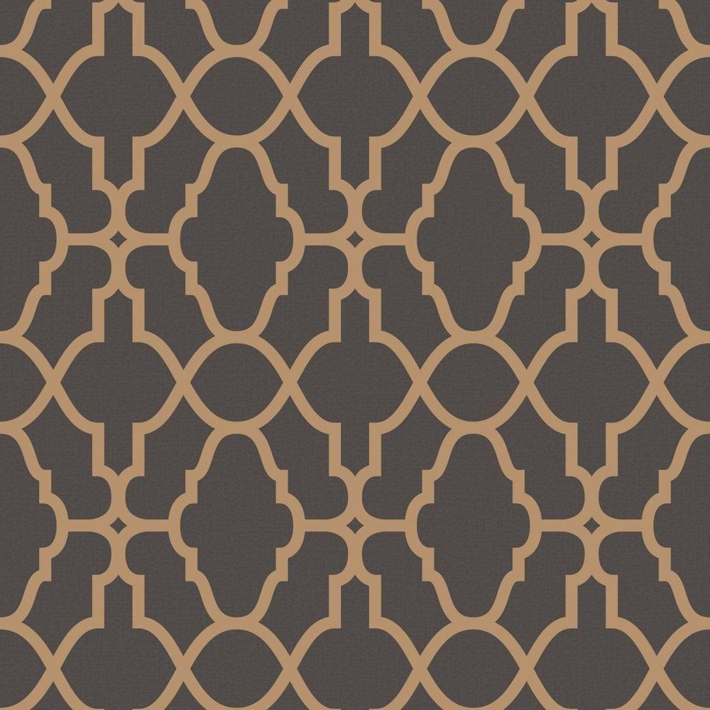Rasch Casablanca Black And Copper Geometric Wallpaper