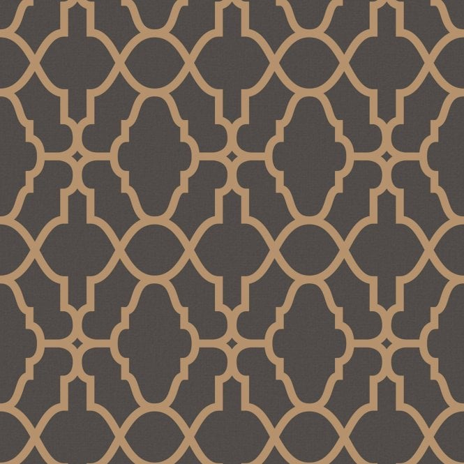 RASCH Casablanca Black And Copper Geometric Wallpaper 309331