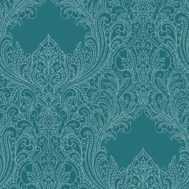 Incanto Glitter Infused Teal Damask Metallic Wallpaper 308518