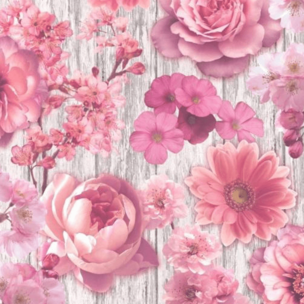 Rasch Pink Floral Roses On A Vintage Bark Background