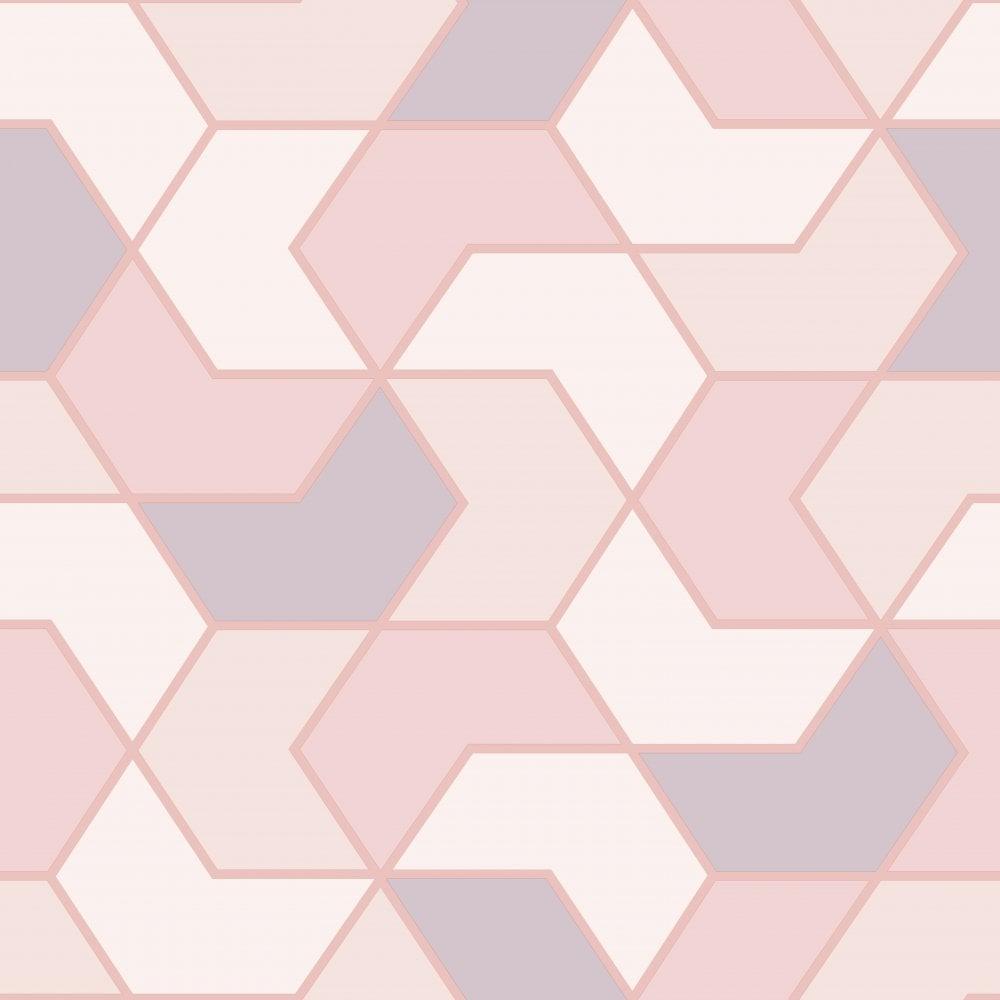Rasch Portfolio Pink Rose Gold Geometric Wallpaper 270310