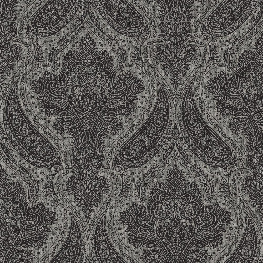 Rasch Roma Black And Silver Damask Wallpaper 208627