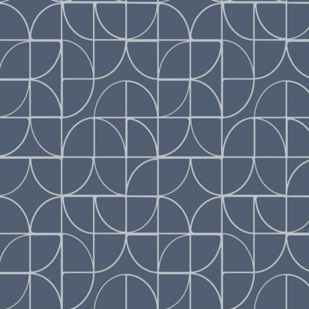 Rasch Symmetry Curve Navy Geometric Wallpaper 310108