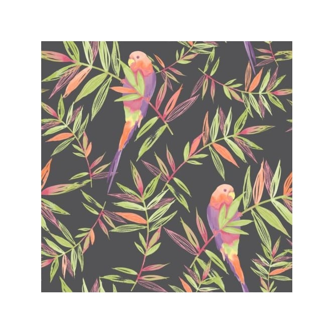 Rasch Tropical Parrots Birds And Leaves Painted Motif Wallpaper 209211